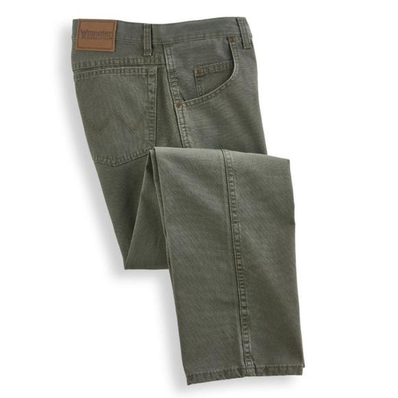 8c621919 Wrangler Jeans | Mens Moss Green 31100 Ms Rugged Wear Straight Leg ...
